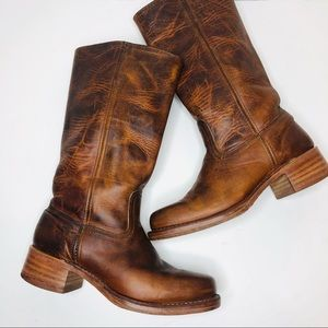 Vintage Frye Campus Boots Cognac Brown Leather 9.5